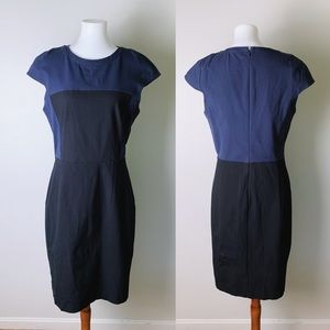 THEORY Jada C Colorblock Stretch Sheath Dress